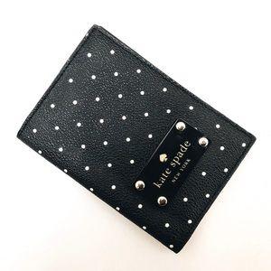 Kate Spade Black & White Polka Dot Passport Holder